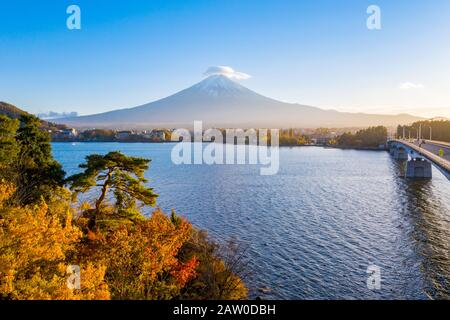 Sunset of Kawaguchiko Lake,Fuji Mountain,Japan Stock Photo