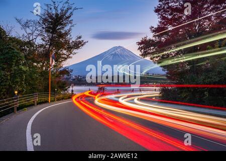 Traffic Light Trails to Fujisan at Kawaguchiko Lake,Japan Stock Photo