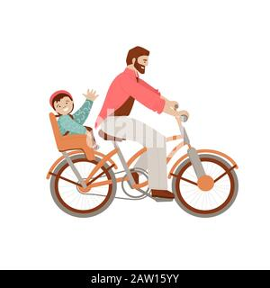 Happy father riding a bicycle with kid on baby carrier bike seat, waving his heand in cheer mood. Happy father with child doing summer activities on - Stock Photo