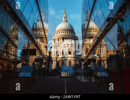 St Paul's Cathedral reflected in modern glass buildings in London