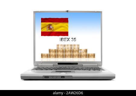 laptop showing IBEX 35, Spain - Stock Photo