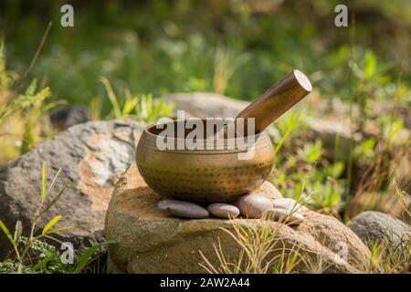 Singing bowl, buddhist instrument used in sound therapy, Tibetan Singing bowl. next to pond. - Stock Photo
