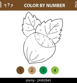 Numbers coloring page. Cute cartoon hazelnut. Educational game for preschool kids - Stock Photo