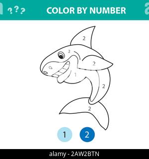 Numbers coloring page. Cute cartoon shark. Educational game for preschool kids. Color by numbers - Stock Photo