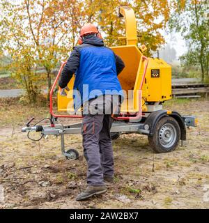 cleaning the forest and chipping branches using a special machine - Stock Photo