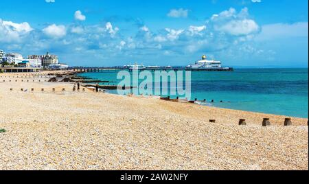 EASTBOURNE, EAST SUSSEX, UK - JUNE 03 : View of Eastbourne town seafront, houses and beach and pier in East Sussex on June 03, 2019 - Stock Photo
