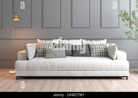 3D rendering of interior design with grey wall, white sofa and golden lamp - Stock Photo