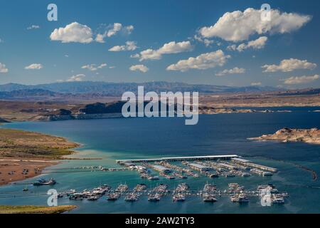 Boats at marinas at Hemenway Harbor, on Lake Mead, view from Lakeview Overlook, Lake Mead National Recreation Area, Nevada, USA - Stock Photo