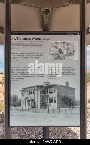 Display of historic photo of school in St Thomas, ghost town submerged under Lake Mead for many years, now exposed due to low water level, Nevada, USA - Stock Photo