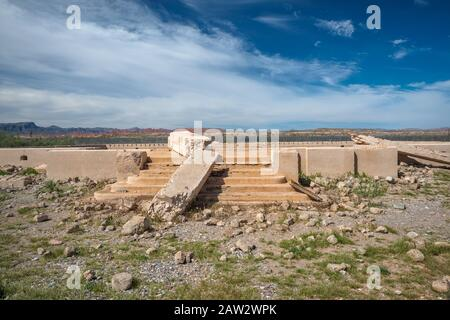 Foundations of school in St Thomas, ghost town in Lake Mead National Recreation Area, Nevada, USA - Stock Photo