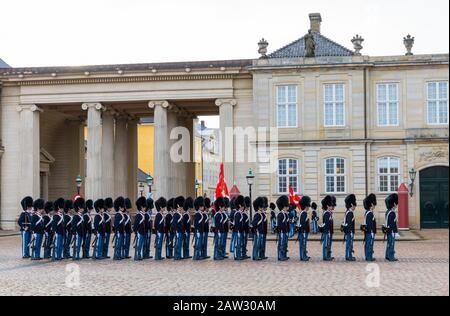 The Royal Guards Music Band, Amalienborg Palace, Copenhagen, Denmark - Stock Photo