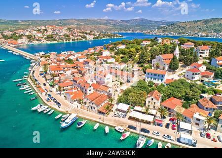 Adriatic town of Rogoznica aerial coastline view, central Dalmatia region of Croatia - Stock Photo