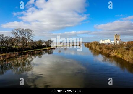 Wesel, North Rhine-Westphalia, Lower Rhine, Germany, Flood at the river Lippe in the renaturalised floodplain area where the river Lippemuendung flows - Stock Photo