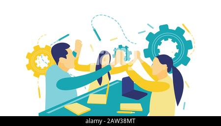 Flat vector illustration, teams join hands promoting unity and involvement, the concept of team building. - Stock Photo