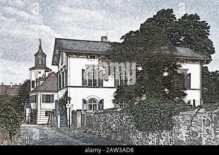 Meinholdsches Turmhaus, Wine-growing estate built at 1720, Radebeul near Dresden, Saxony, Germany, Europe - Stock Photo