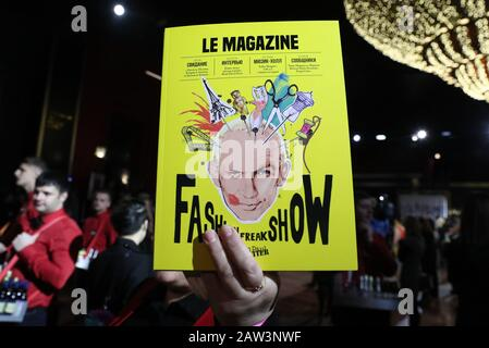 MOSCOW, RUSSIA - FEBRUARY 6, 2020: A playbill of the cabaret production Fashion Freak Show staged by French fashion designer Jean Paul Gaultier at the Moscow Palace of Youth. Alexander Shcherbak/TASS