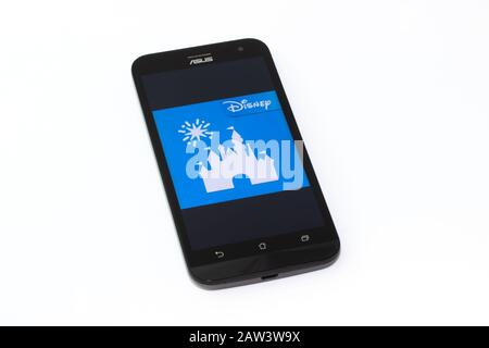 Kouvola, Finland - 23 January 2020: Disneyland app logo on the screen of smartphone Asus - Stock Photo