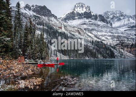 Man traveler standing on wooden pier with rocky mountains in Lake O'hara at Yoho national park, Canada - Stock Photo