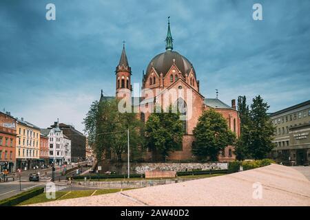 Oslo, Norway - June 24, 2019: Trefoldighetskirken - Holy Trinity Church at Akersgata Street. Summer Day. - Stock Photo