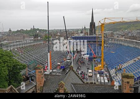 Edinburgh, Scotland / USA - June 13, 2019: Temporary seating grandstands are shown being constructed for the Royal Edinburgh Military Tattoo performan - Stock Photo