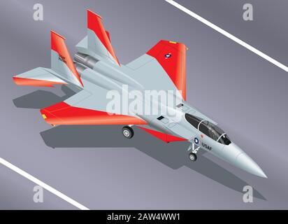Detailed Isometric Vector Illustration of an F-15 Eagle Jet Fighter on the Ground - Stock Photo