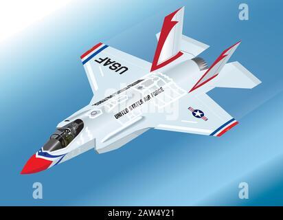 Detailed Isometric Vector Illustration of an airborne F-35 Lightning II Fighter Jet in Thunderbirds Aerobatic Team Paint Scheme - Stock Photo