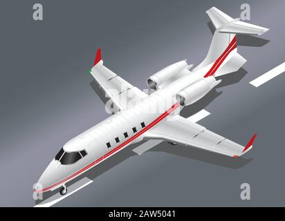Detailed Isometric Vector Illustration of a Private Jet Taking Off - Stock Photo