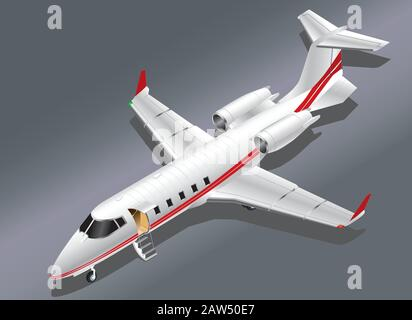 Detailed Isometric Vector Illustration of a Private Jet Parked for Boarding - Stock Photo