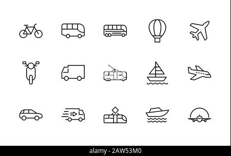 Set of Public Transport Related Vector Line Icons. Contains such Icons as Bus, Bike, Scooter, Car, balloon, Truck, Tram, Trolley, Sailboat, powerboat - Stock Photo