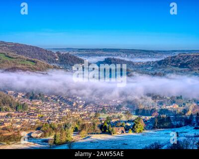 UK Weather: beautiful cloud inversion over Matlock Bath morning shot from Black Rocks Derbyshire HDR Derbyshire Dales, Peak District National Park - Stock Photo