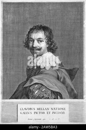 1635 , FRANCE : The french painter and engraver CLAUDE MELLAN ( 1598 - 1688 ),  engraving in 1635  self-portrait . Friend of astronomer Nicolas-Claude - Stock Photo