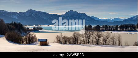 Winter at the Forggensee, in the Allgau, Bavaria, Germany. - Stock Photo
