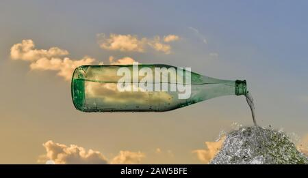composite image of glass bottle in the sky that pours water into the cloud - Stock Photo