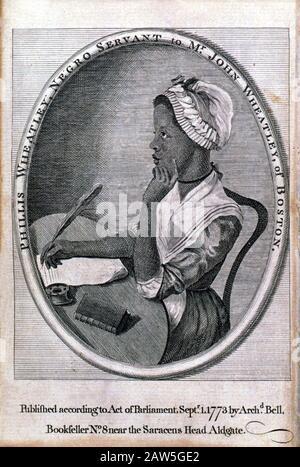 1773 , BOSTON , USA  : The afro-american slave woman poet and writer PHILLIS WHEATLEY ( 1753 - 1784 ), the ' Negro servant to Mr. John Wheatley of Bos - Stock Photo