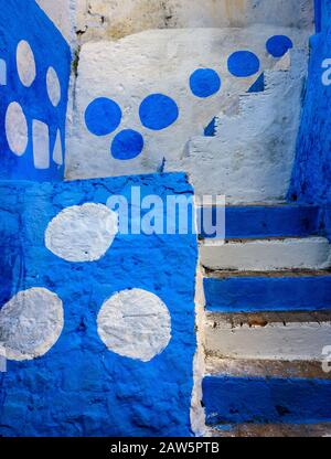 CHEFCHAOUEN, MOROCCO - CIRCA MAY 2018: Colorful streets of Chefchaouen - Stock Photo
