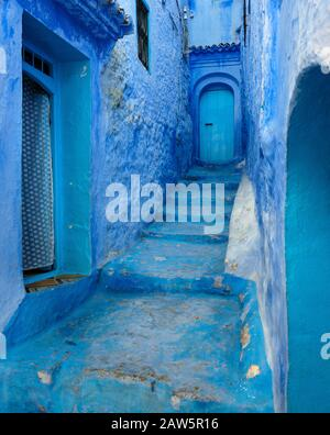 CHEFCHAOUEN, MOROCCO - CIRCA MAY 2018: Typical street of Chefchaouen - Stock Photo