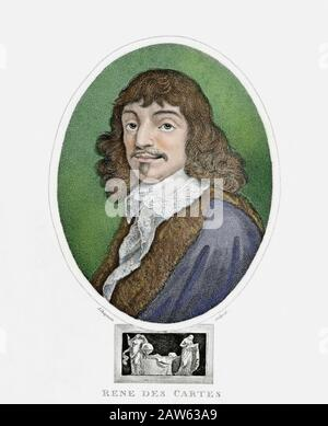 The celebrated french philosopher , mathematician  and scientist René DESCARTES aka Renato CARTESIO aka Renatus Cartesius ( 1596 - 1650 ). Portrait en - Stock Photo