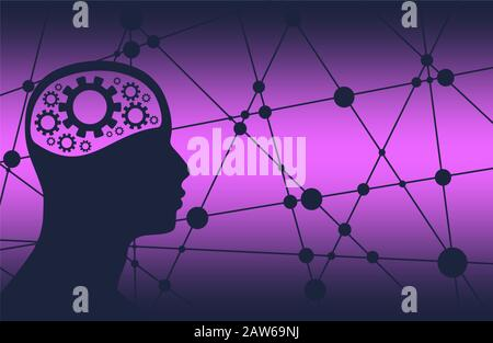 Silhouette of a mans head with gears. Mental health relative brochure, report or flyer design template. Scientific medical designs. Connected lines wi - Stock Photo