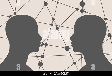 Silhouette of a man's head. Mental health relative vector brochure, report or flyer design template. Scientific medical designs. Human communication - Stock Photo