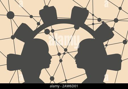 Silhouettes of a two men heads in the frame of gear. Mental health relative brochure design template. Scientific medical design. Molecule and communic - Stock Photo