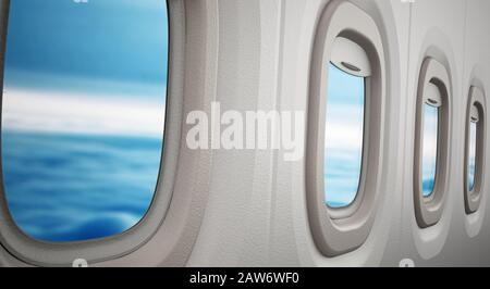 Airplane windows looking through the clouds. 3D illustration. - Stock Photo