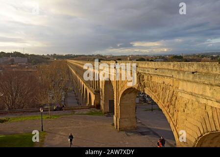 The Saint-Clément Aqueduct, Montpellier, France, built in 1766,13km long, it was built to supply drinking water, now it supplies numerous fountains - Stock Photo