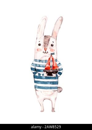Cute Sailor rabbit, bunny hand painted watercolor illustration isolated on white. Nursery handpainted animal. For kid's or baby's shirt design, print, - Stock Photo