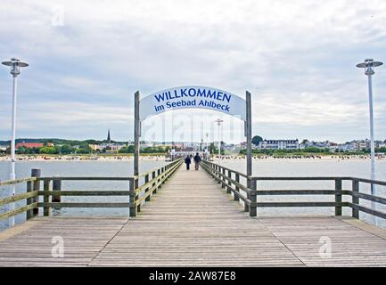 Pier in Ahlbeck, Isle Usedom, Baltic Sea - Stock Photo