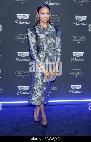 Los Angeles, California, USA. 06th Feb, 2020. Zoe Saldana attends Cadillac's Annual Oscar Week Party at Chateau Marmont in Los Angeles, California, USA, on 07 February 2020. | usage worldwide Credit: dpa picture alliance/Alamy Live News - Stock Photo