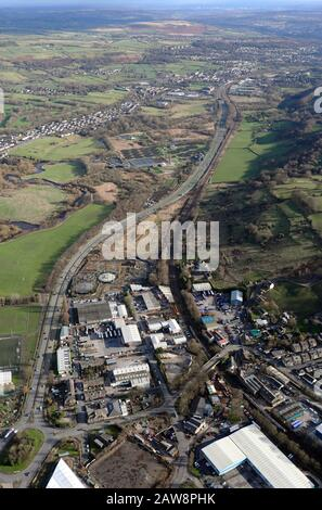 aerial view looking south east down the A650 Airevalley Road from Keighley - Stock Photo