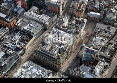aerial view of St Anns Square and Royal Exchange Theatre & Royal Exchange Arcade in Manchester city centre - Stock Photo