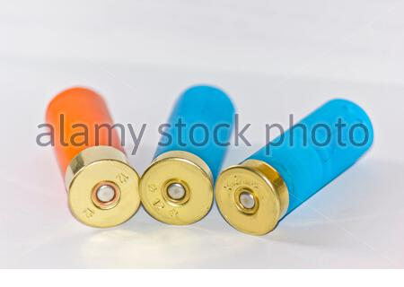 twelve gauge shotgun shell, For hunting small animals - Stock Photo