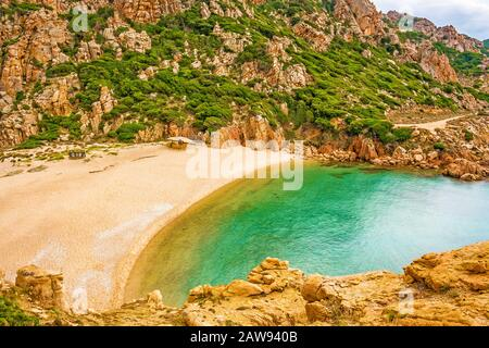 Beach Cala Li Cossi, beautiful bay at Costa Paradiso, Sardinia - Stock Photo