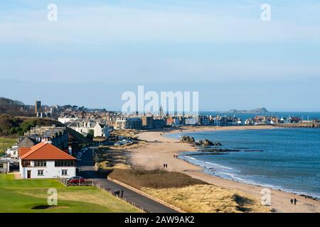 View of North Berwick town with milsey bay beach on coast of East Lothian, Scotland, UK - Stock Photo